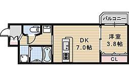 JR阪和線 我孫子町駅 徒歩1分の賃貸マンション 1階1DKの間取り