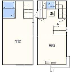 札幌市営南北線 北24条駅 徒歩12分の賃貸アパート 1階1LDKの間取り