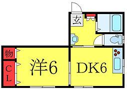 都営三田線 板橋区役所前駅 徒歩5分の賃貸アパート 2階1DKの間取り