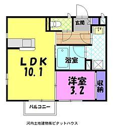 ルアーナ 2階1LDKの間取り