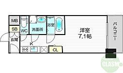 S-RESIDENCE新大阪Luna 6階1Kの間取り