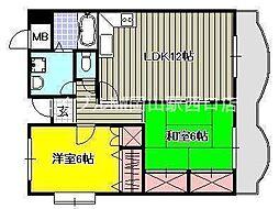 翔阿園マンション[5階]の間取り