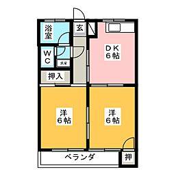 コーポシンデン[2階]の間取り