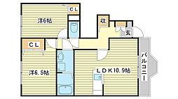 メゾンカルフールB棟[1階]の間取り