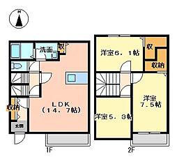 兵庫県姫路市広畑区蒲田4丁目の賃貸アパートの間取り