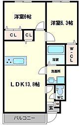 ハイツ第三寺新 1階2LDKの間取り