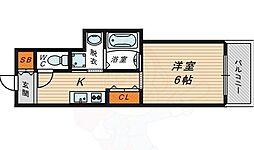 b.shade 6階1Kの間取り