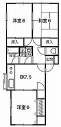 神奈川県平塚市北豊田の賃貸アパートの間取り