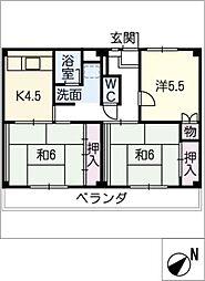 ビレッジハウス亀崎 1号棟[4階]の間取り