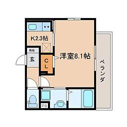 JR東海道本線 静岡駅 徒歩8分の賃貸マンション 3階1Kの間取り