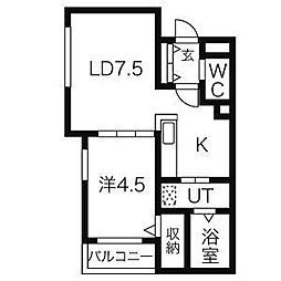 ruscellia南6条[203号室]の間取り
