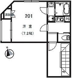 小田急小田原線 経堂駅 徒歩6分の賃貸マンション 2階1Kの間取り