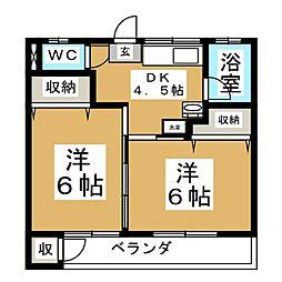 本吉荘[2階]の間取り