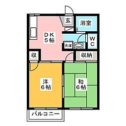 エスポワールK・1[2階]の間取り