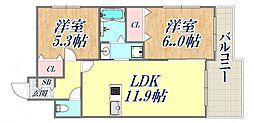 フラワーメゾン東園田 3階2LDKの間取り