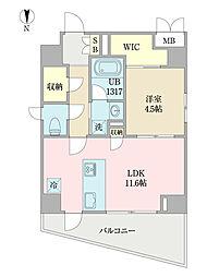 EIRAKU apartment 4階1LDKの間取り