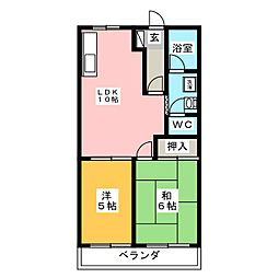 バンディアンハイツ[1階]の間取り