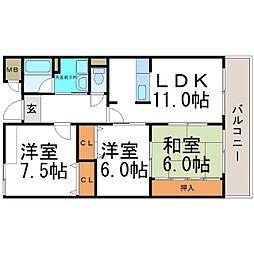 ラ・フォーレ武庫川[5階]の間取り