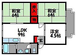 JR鹿児島本線 千早駅 徒歩7分の賃貸アパート 2階3LDKの間取り