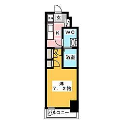 AZESTお花茶屋II 12階1Kの間取り