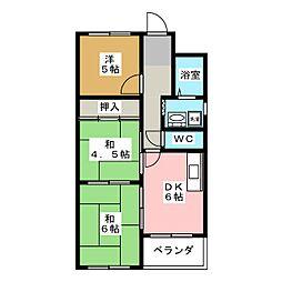 コーポヤマギワ[4階]の間取り