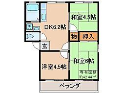 京都府城陽市富野北垣内の賃貸アパートの間取り