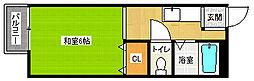 京都府京都市伏見区深草野手町の賃貸アパートの間取り