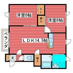 クレイン福住B[2階]の間取り