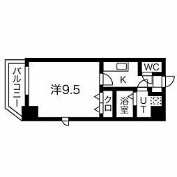 名古屋市営名城線 上前津駅 徒歩8分の賃貸マンション 7階1Kの間取り