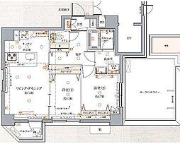 東京メトロ有楽町線 江戸川橋駅 徒歩3分の賃貸マンション 7階2LDKの間取り