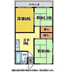 ヤマハマンション[202号室]の間取り