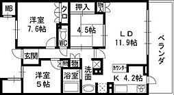 大阪府高槻市沢良木町の賃貸マンションの間取り