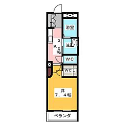 クロシュ本山 3階1Kの間取り