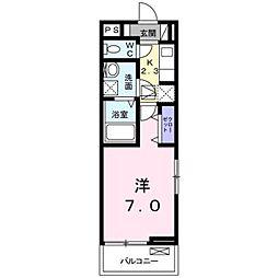 JR中央本線 甲府駅 徒歩14分の賃貸アパート 1階1Kの間取り