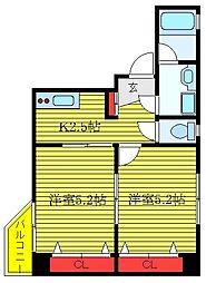 都営三田線 板橋区役所前駅 徒歩2分の賃貸マンション 4階2Kの間取り