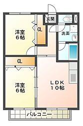 滋賀県東近江市聖和町の賃貸アパートの間取り
