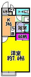 サンホーム富田林 2階1Kの間取り