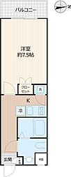 Beverly Homes 下赤塚 4階1Kの間取り