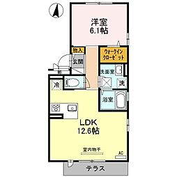 レフィナードKHY[1階]の間取り