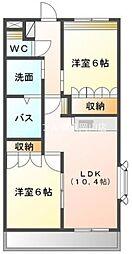 岡山県岡山市東区西大寺浜丁目なしの賃貸マンションの間取り