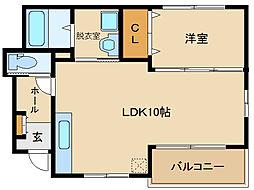 近鉄長野線 喜志駅 徒歩15分の賃貸アパート 1階1LDKの間取り
