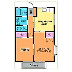 神奈川県厚木市鳶尾4丁目の賃貸アパートの間取り