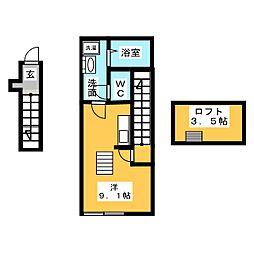 Westin 2階ワンルームの間取り