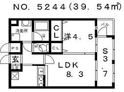 大阪府大阪市生野区巽西3丁目の賃貸マンションの間取り