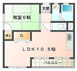 多聞台マンション[2階]の間取り