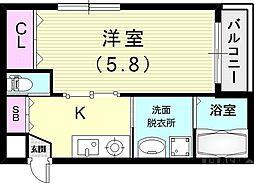 Happiness中山手 3階1Kの間取り