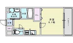 阪急京都本線 相川駅 徒歩2分の賃貸アパート 3階1Kの間取り