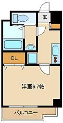 阪神本線 出屋敷駅 徒歩8分の賃貸マンション 2階1Kの間取り