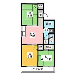 コーポラスみやびA棟[1階]の間取り