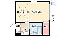 愛知県名古屋市名東区社口2丁目の賃貸アパートの間取り